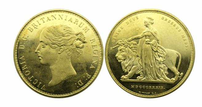 ヴィクトリア ウナとライオン5ポンド金貨
